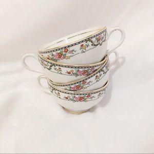 Gold Lined Floral Teacups